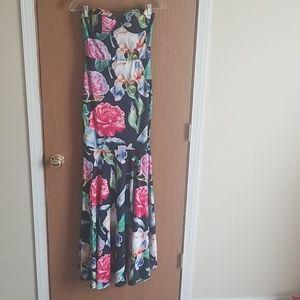 Banjul Navy Floral Strapless Dress Size Small